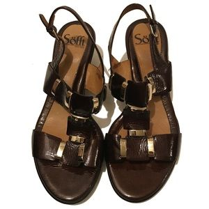 SOFFT Wedge Sandals in Brown Sz 7.5